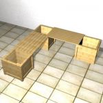 Angular wooden bench for the garden 3D object bench 00018