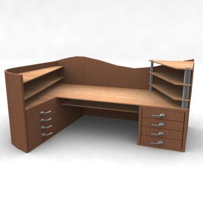 modern wooden desk 3d model bureau 29knd000. Black Bedroom Furniture Sets. Home Design Ideas