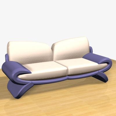 3D - model blue-gray sofa 3D object Cardinal 4