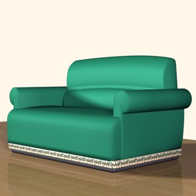 3D - model CAD symbol green sofa in the Art Nouveau style Dafne