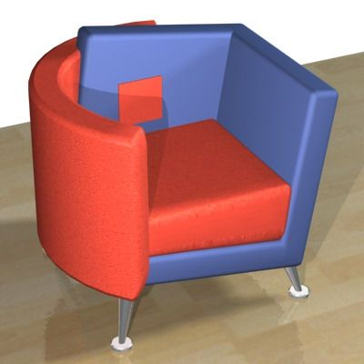 3D - model blue-red armchair 3DS Focus
