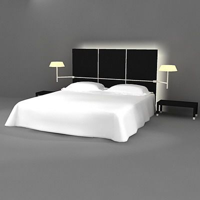 3d model bed in a modern style france cad symbol ligne roset lumeo. Black Bedroom Furniture Sets. Home Design Ideas
