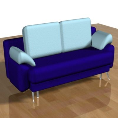 3D - model minimalist blue sofa 3DS SOFA02