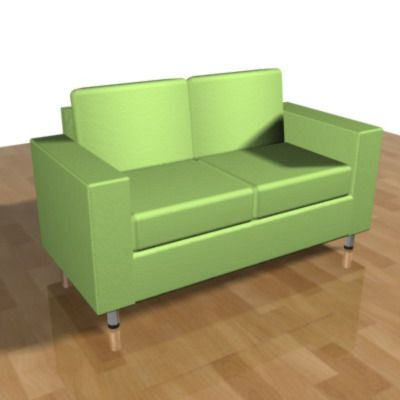 3D - model green sofa in the style of minimalism CAD symbol SOFA05
