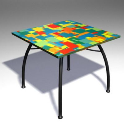 3D - model checkered square table CAD symbol TABLE 15