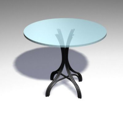 3D - model minimalist round table with glass tabletop CAD symbol TABLE 22