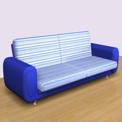 3D - model blue sofa in the style of minimalism 3d object Chaise-longue