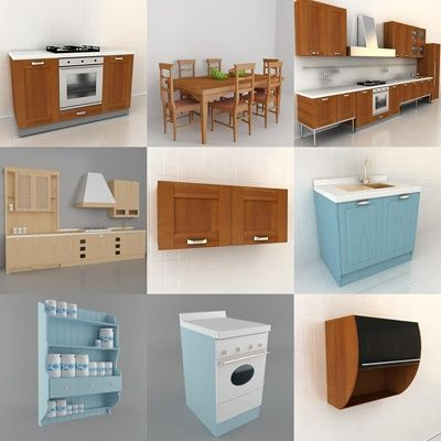 3D   Model Kitchen Italy 1 (70 Objects)