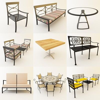 3d model garden furniture 4 50 objects - Garden Furniture 3d Model