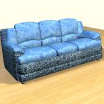 3D - model blue sofa in the Art Nouveau style 3DS sofa45