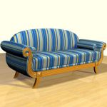 3D - model striped sofa in the Art Nouveau style 3DS sofa52