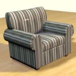 3D - model striped sofa in the Art Nouveau style CAD symbol sofa57